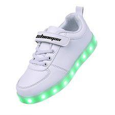 Shinmax Velcro Serie LED Zapatos 7 Colores LED USB Recargable Zapatillas LED de Ocasionales de Luces deChico y Chica para Halloween Navidad Día de Gracias con el CE Certificado