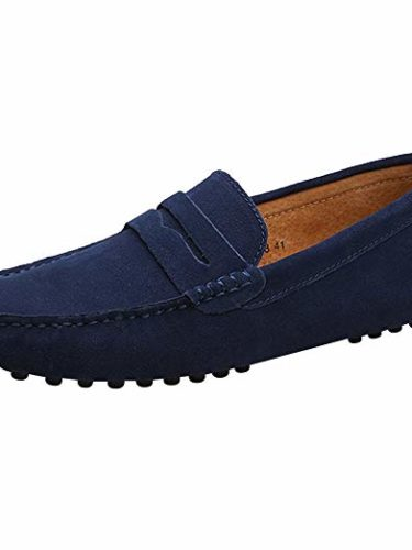 Shenn Hombres Minimalismo Casual Zapatos de Conducción Gamuza Mocasines de Cuero 2088