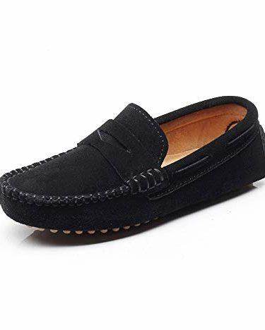 Shenn Chicos Chicas Linda Comodidad Ponerse Ante Cuero Mocasines Zapatos